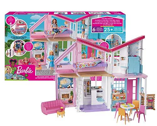 Barbie FXG57 - Malibu Haus Puppenhaus 60 cm breit mit +25 Zubehörteile, Puppen Spielzeug ab 3 Jahren