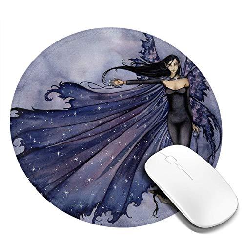 7.9x7.9in donkere vrouw ster mantel ronde muis pad bureau toetsenbord mat grote muis pad voor computer desktop laptop