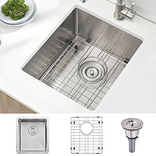 Stainless Steel Undermount Small Kitchen Bar Sink, 15 x 17 Inches 16 Gauge SUS304 Brushed Nickel Single Bowl Outdoor Bar Sink RV Sink with Bottom Rinse Grid and Basket Drain Strainer