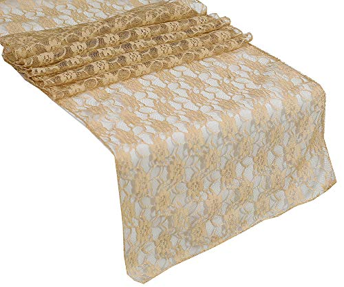 mds Pack of 25 Wedding 12 x 108 inch Lace Table Runner for Wedding Banquet Decor Table Lace Runner- Champagne Gold