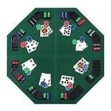 HOMCOM Tablero de Póker Octogonal Plegable Tabla de Juegos de Cartas para 8 Jugadores Ligero con Posavasos Bolsa de Transporte 120x120x1,5 cm Verde