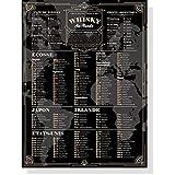Póster vintage de la guía del Whisky de 30 x 40 cm – Mono malt, batidos – Escocia, Irlanda, Japón, Estados Unidos