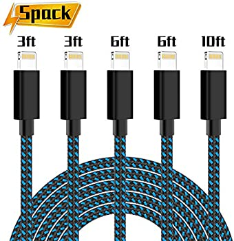 5-Pack PLmuzsz MFi Certified Braided USB iPhone Charger Lightning Cable
