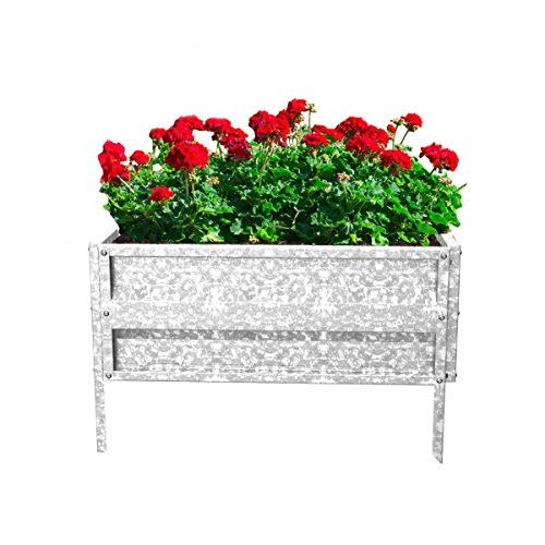 Pure Garden Raised Garden Bed Plant Holder Kit with Adjustable Galvanized Iron for Growing Flowers, Vegetables, Herbs 14.25' L x 13.5' W x 5H