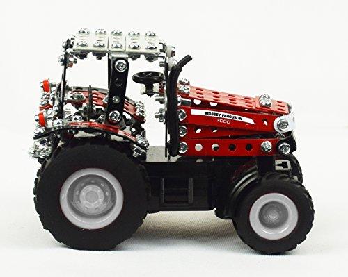 RC Auto kaufen Traktor Bild 6: Tronico 09541 - Metallbaukasten Traktor Massey Ferguson MF-7600 mit Kippanhänger und Fernsteuerung, Maßstab 1:64, Micro Serie, rot, 427 Teile*