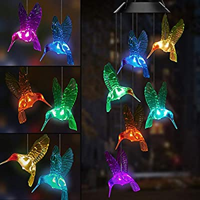 AceList Solar Hummingbird Wind Chimes Color Changing Wind Chimes Outdoor for Patio Yard Garden Home(Gifts for mom?Birthday Gifts for mom)