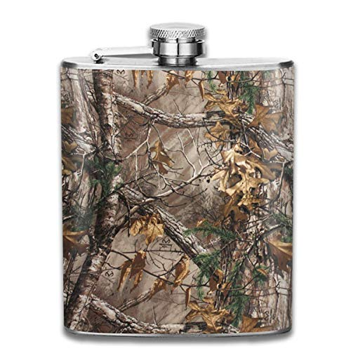 Stainless Steel Leak-Proof Hip Flask Camo Camouflage Tree Flagon Whiskey Container Flask Pocket for Unisex