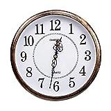 ufengke Reloj de Pared Vintage Silencioso Color Bronce Reloj Quartz Redondo Numeros...