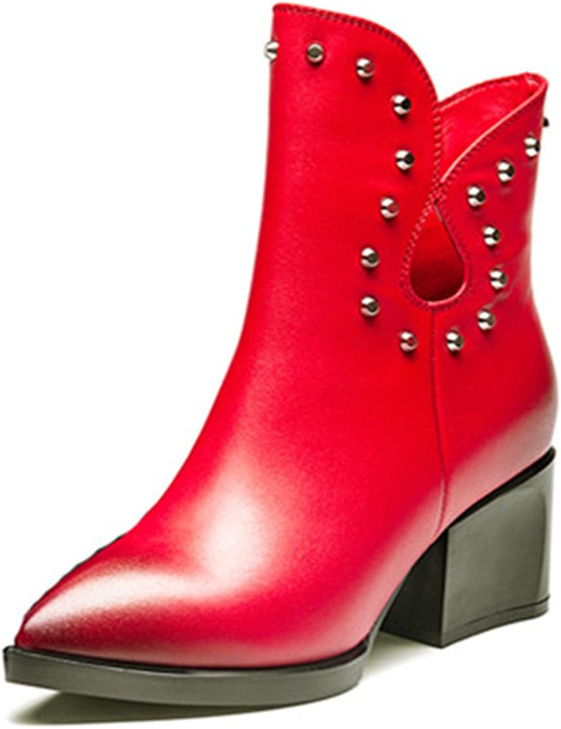 Nine Seven Genuine Leather Women's Pointy Toe Chunky Heel Rivets Studded Handmade Ankle Boot New