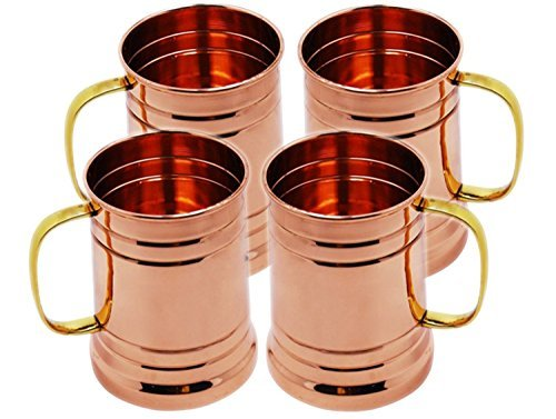 Tankard Large Moscow Mule Copper Mugs, 20 Oz - Handmade of 100% Pure Copper, Brass Handle set of 4