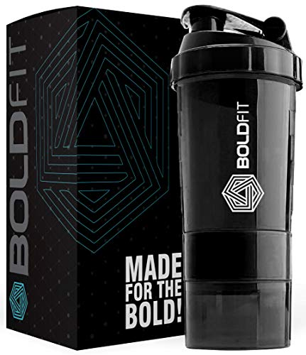 Boldfit Gym Spider Shaker Bottle 500ml with Extra Compartment, 100% Leakproof Guarantee, Ideal for Protein, Preworkout and BCAAs, BPA Free Material … (Black)