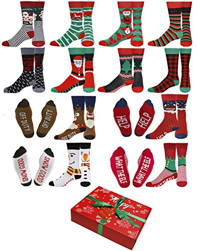 Gilbin's Mens Soft Stretchy Christmas Holiday Cool Casual Dress Socks, Assorted Designs Size 10-13 (12 Pairs With Gift Box)