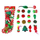 Chiwava 17 Pack Christmas Cat Toy Stocking Gifts Set Assorted Toys Variety Pack Kitten Interactive Play