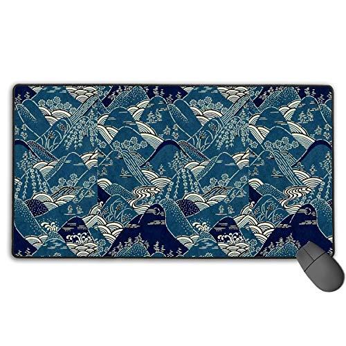 Grote Gaming Muis Pad/Mat, Bergen Japanse Kimono Patroon Mousepad met Antislip Rubber Base voor Laptop, Duurzame gestikte randen