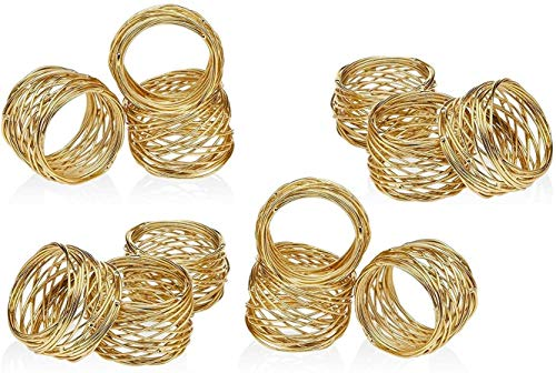 ARN Craft Golden Round Mesh Napkin Rings- Set of 12 for Weddings Dinner Parties or Every Day Use