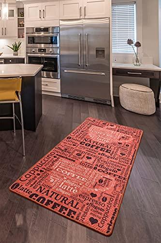 """Alfombra moderna de cocina de gel de pasillo para cocina, color gris, blanco y negro, con diseño antideslizante con texto """"Coffee Macchiato"""" (color ladrillo, 80 x 200 cm)"""