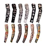 12 PCS Sports Arm Sleeves For Braces Splints & Slings , Tattoo Sleeve Seamless Hand Warmer Basketball & Activities , Outdoor Sunscreen Riding Cycling Elbow Braces For Boys , Men , Women Color Ramdoml