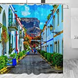 España Flower Alley Córdoba Cortina de ducha Viaje Decoración de baño Set con ganchos Poliéster 72x72inch (YL-05313)