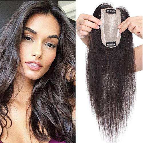 40cm - Prótesis Pelo Natural Extensiones Clip de Cabello Humano 34g Hair Topper Extensions 6 * 13cm Base de Seda - 1B# Negro Natural