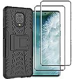 FANFO® Custodia per Xiaomi Redmi Note 9S/9 PRO/9 PRO Max, 2 in 1 Resistente Hybrid Dual Layer Armatura Defender PC + TPU Cover con Cavalletto Integrato, Nero + Pack di 2 Protezioni Schermo
