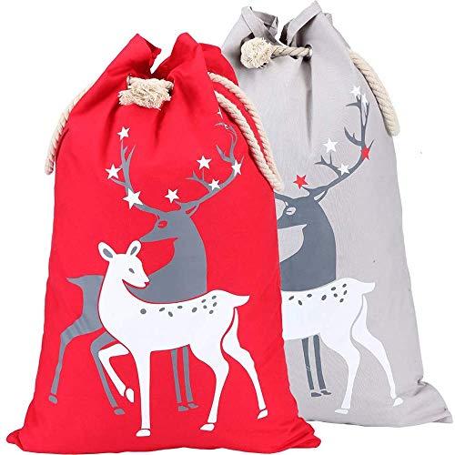 xinblueCo 2 Pack Chritsmas Santa Sacks ChristmasDecorations Canvas Santa Bag With Drawstring Xmas Gift Bag Extra Large Christmas Sacks Size 27.5'x19.5' (red and grey reindeer)