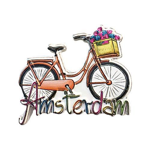 Amsterdam Holland 3D Fahrrad Kühlschrank Magnet Tourist Travel Souvenirs Handgemachte Harz Handwerk Magnetische Aufkleber Home Küche Dekoration Niederlande Kühlschrankmagnet Sammlung Geschenk