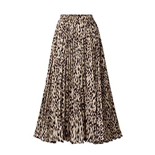 Sylar Falda Larga Plisada Mujer Faldas De Fiesta Elegantes Casual Cintura Elástica Falda Plisada con Estampado De Leopardo Suelta Falda Larga Mujer A-Line Vintage Falda