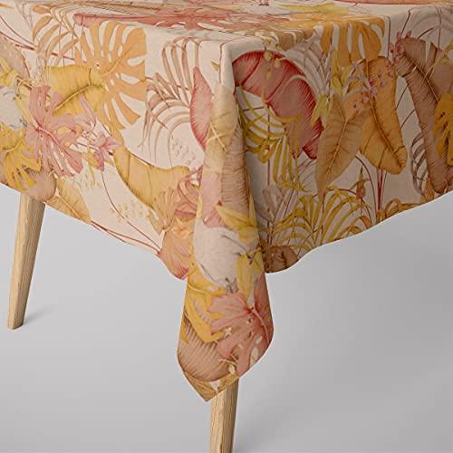 SCHÖNER LEBEN. Mantel con aspecto de lino Royal Cockatoo, hojas de palmera, cacato, natural, amarillo, rosa, varios tamaños, tamaño de mantel: 130 x 200 cm