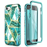 SURITCH for iPhone SE 2020 Case iPhone 7 Case iPhone 8 Cover 360 Protection Silicone Back Cover with Built in Screen Protector Slim Thin Bumper Shockproof iPhone SE 2020/7/8 Case(Green Mandala)
