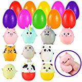 10 Jumbo Easter Eggs Filled with Cute Animal Squishy for Easter Eggs Hunt, Easter Basket Stuffers/Fillers, Filling Treats, Party Favor, Classroom Prize Supplies