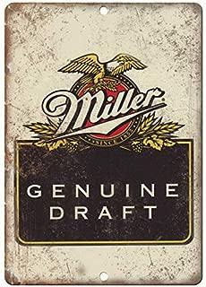 Genuine Miller Draft Vintage Beer Ad Old Style Beer Vintage Looking Bar Pub Coffee House Metal Tin Sign 8X12 Inches