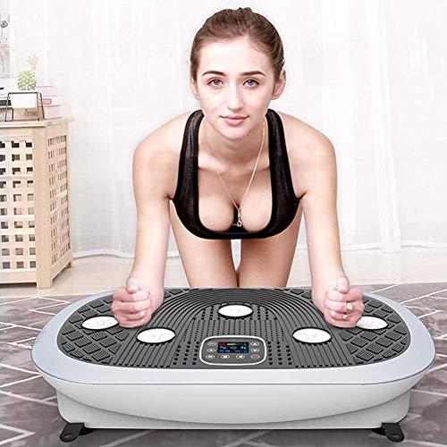 DPLQX 3D Vibrationsplatte, Vibrationsgerät Fitnessstation Trainingsgerät Einstellbare Geschwindigkeit w/Widerstand-Bänder, für Erwachsene Gewichtsverlust für Home Training und Shaping,White