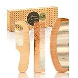 bambuswald© 3er Set Haarkämme aus 100% Bambus - ökologisch in Handarbeit gefertigt - Kamm für Damen, Herren, Mädchen & Frauen - Holzkamm | Naturkamm für optime Haarpflege - Frisierkamm Taschenkamm