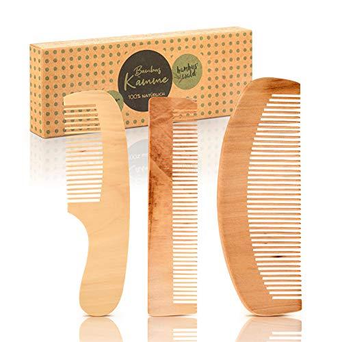 bambuswald© Set 3 pettini in legno di bamboo ecologico e naturale, fatti a mano - Pettine per capelli, barba o baffi - Pettine in legno districante e antistatico