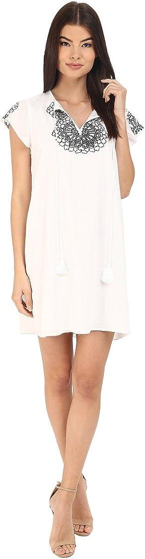 Susana Monaco Women's White Sugar w/Black Embroidered Tess Shift Dress, 6