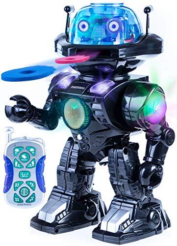Juguetrónica-Robot Robi para niños con control por voz y capaz de lanzar discos, colores surtidos JUG0178