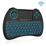 GUPENG Mini Controlador de computadora portátil Teclado H9 2.4GHz Mini ratón sin Hilos del Aire QWERTY, con luz de Fondo de Colores Touchpad for la PC TV (Color : Negro)
