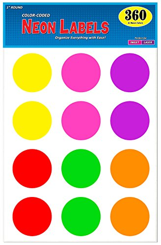 Pack of 360, 2 Inch Multi-Color Round Color Coding Labels for Laser and Inkjet Printers, Assorted Neon Fluorescent Colors