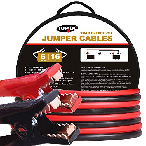 TOPDC 100% Copper Jumper Cables 6 Gauge 16 Feet Heavy Duty Booster Cables with Carry Bag and Safety Gloves (6AWG x 16Ft)