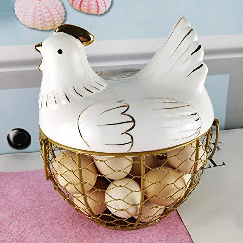 Panier de rangement pour œufs - Grande capacité - En acier inoxydable - Style ferme - Avec couvercle - Multifonction - Jolie poignée - Pour la cuisine - Portable - Blanc