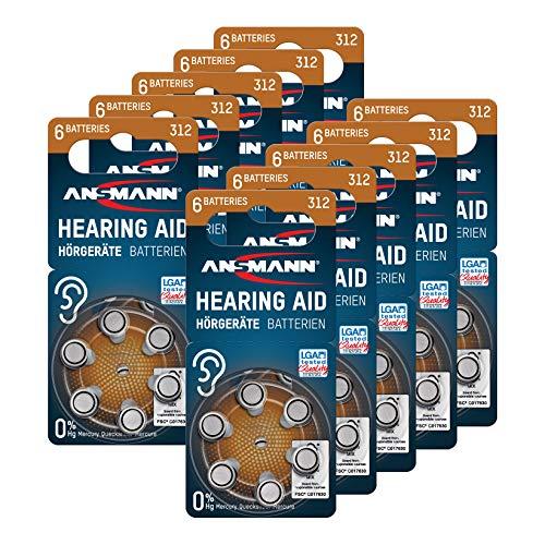ANSMANN Hörgerätebatterien 312 (Braun 60 Stück) Typ 312 P312 ZL3 PR41 - Zink Luft 1,4V - Batterie für Hörgerät, Hörverstärker, Hörhilfe