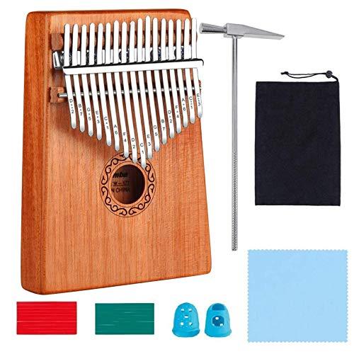 Kalimba 17 Clés Pouce Piano avec instructions d'étude, Haute Qualité Doigt Instrument, Tuning Hammer, bois Acajou, Marimba Cadeau Musical Pour Débutants Enfants Adultes