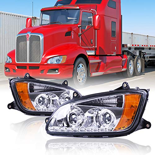 Kenworth T660 LED Headlights Headlamps Left Driver and Right Passenger Pair set for 2008-2016 (Driver & Passenger (Left & Right))