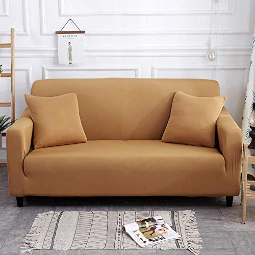 Funda Sofa Chaise Longue Antimanchas Ajustable Camel 3 plazas, funda de sofá elástica para sala de estar Funda de sofá elástica, funda de sofá Protector de muebles Four Seasons 190-230cm 1 PCS