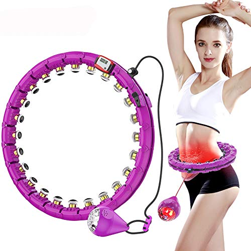 MUZILIYAO Weighted Exercise Hoop,360°LED Folorful Light Gravity Ball Slimming Hoop,Auto-Spinning Smart Exercise Hoop with Counter, 2 in 1 Weight Loss and Massage,26-Section Adjustable Waist Belt