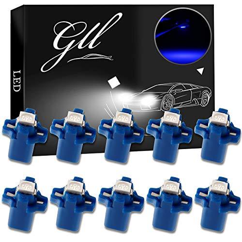 Grandview 10pcs Azul T5 Bombillas LED SMD-1-5050 B8.5 Para el Coche del Velocímetro del Tablero de Instrumentos Instrumento Medidor de Garantía a Base de Indicadores de Luz de 2 Años