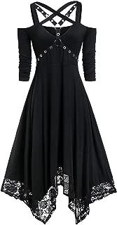 Toimothcn Women Cosplay Dress Off Shoulder Half Sleeve Gothic Dress Irregular Black Party Dresses