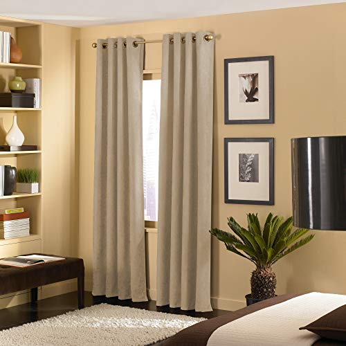 Curtainworks Cameron Grommet Curtain Panel, 50 by 144', Sand