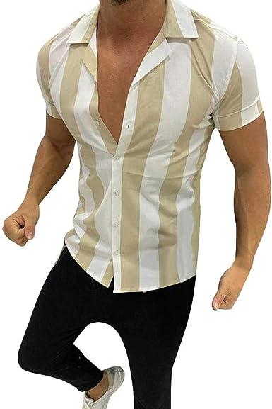 Overdose Camisas Hombre Manga Corta De Vestir Regular Rayas ...