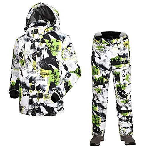 SIKHUAXUE Hiver Impression Hommes Combinaison De Ski Imperméable Coupe-Vent Ski Veste + Pantalon Vêtements Chauds Ensemble Solide Hommes Snowboard Jacket Pantalon